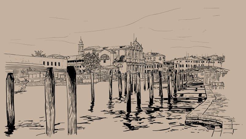 Ανάχωμα της Βενετίας Ιταλία Ψηφιακό σχέδιο χεριών σκίτσων διανυσματική απεικόνιση