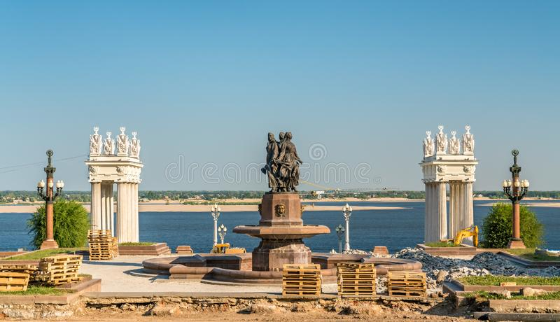 Ανάχωμα του ποταμού του Βόλγα στο Βόλγκογκραντ, Ρωσία στοκ εικόνες