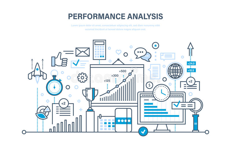 Ανάλυση απόδοσης Ερευνητική ομάδα αγοράς, έρευνα, στατιστική, ανταλλαγή πληροφοριών, υπολογισμοί διανυσματική απεικόνιση