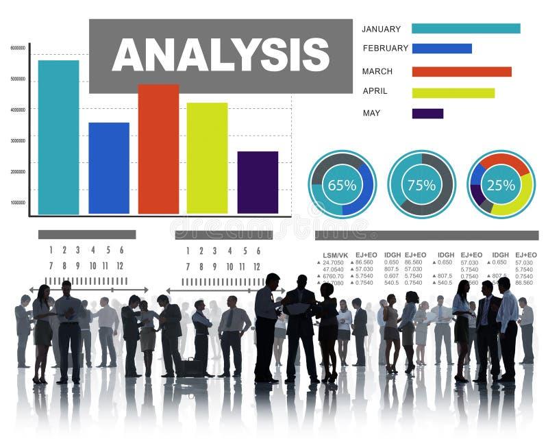 Ανάλυση που αναλύει την έννοια στοιχείων γραφικών παραστάσεων φραγμών πληροφοριών statisitc στοκ εικόνες