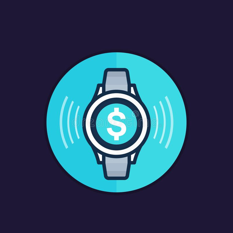 Ανέπαφη πληρωμή με το έξυπνο διανυσματικό εικονίδιο ρολογιών απεικόνιση αποθεμάτων