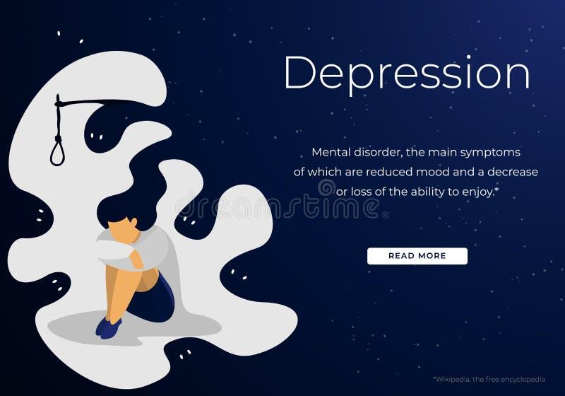 Ανήσυχη Νεαρή Γυναίκα Που Υποφέρει Από Κατάθλιψη απεικόνιση αποθεμάτων