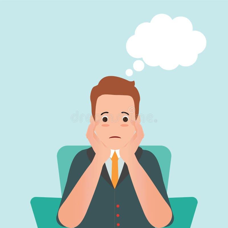 Ανήσυχο άτομο που αισθάνεται τη θλίψη και το σκεπτόμενο μπαλόνι διανυσματική απεικόνιση