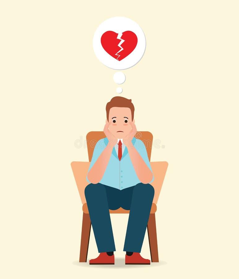 Ανήσυχο άτομο που σκέφτεται και που αισθάνεται τη θλίψη για τη σπασμένη καρδιά διανυσματική απεικόνιση