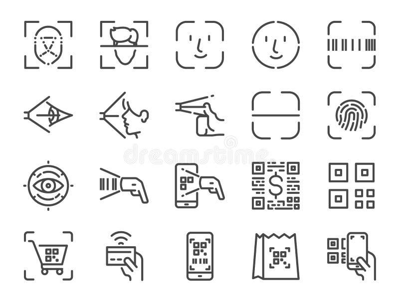 Ανίχνευση για να πληρώσει το σύνολο εικονιδίων γραμμών Συμπεριλαμβανόμενα εικονίδια ως ταυτότητα προσώπου, ανιχνευτή, qr κώδικα,  διανυσματική απεικόνιση