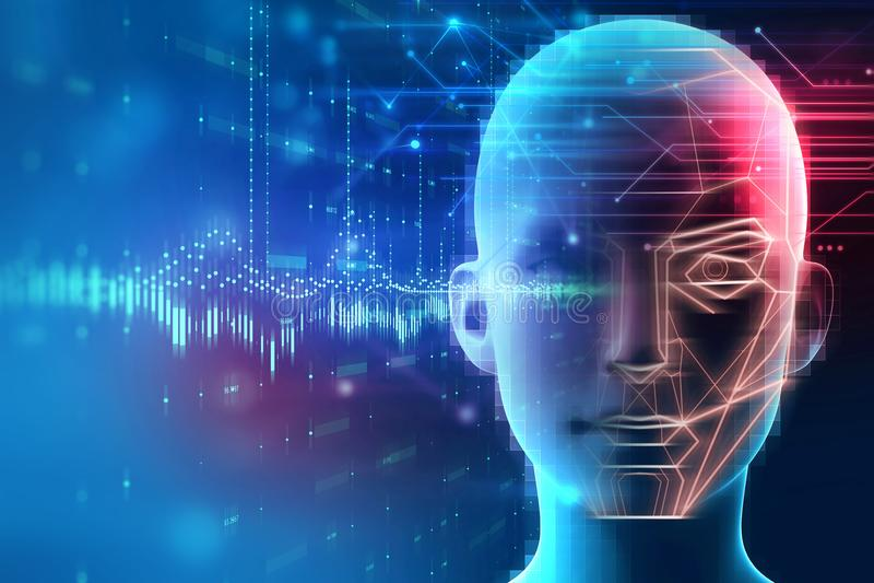 Ανίχνευση προσώπου και αναγνώριση της ψηφιακής ανθρώπινης τρισδιάστατης απεικόνισης διανυσματική απεικόνιση