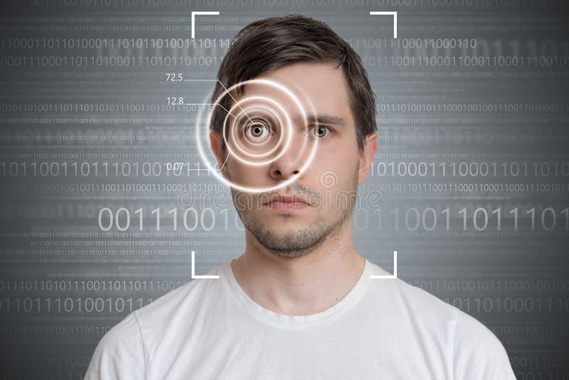 Ανίχνευση προσώπου και αναγνώριση του ατόμου Έννοια όρασης υπολογιστών Δυαδικός κώδικας στο υπόβαθρο στοκ φωτογραφίες με δικαίωμα ελεύθερης χρήσης