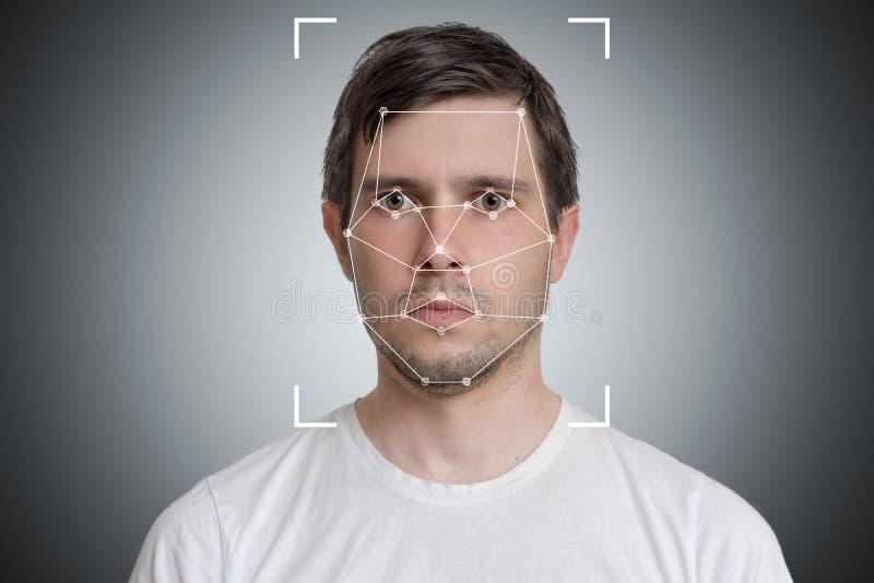Ανίχνευση προσώπου και αναγνώριση του ατόμου Όραση υπολογιστών και έννοια τεχνητής νοημοσύνης στοκ φωτογραφία
