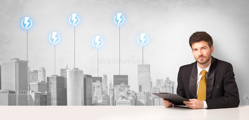 Αναγγέλλων που παρουσιάζει την κατανάλωση ενέργειας πόλεων στοκ φωτογραφία με δικαίωμα ελεύθερης χρήσης