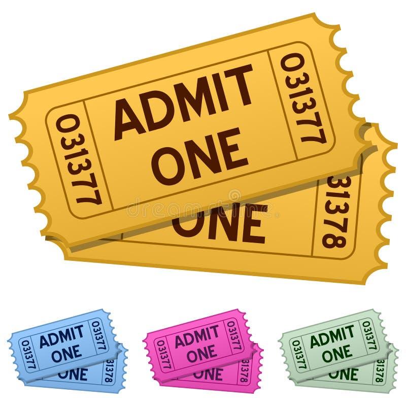 Αναγνωρίστε τα εισιτήρια ενός κινηματογράφου διανυσματική απεικόνιση