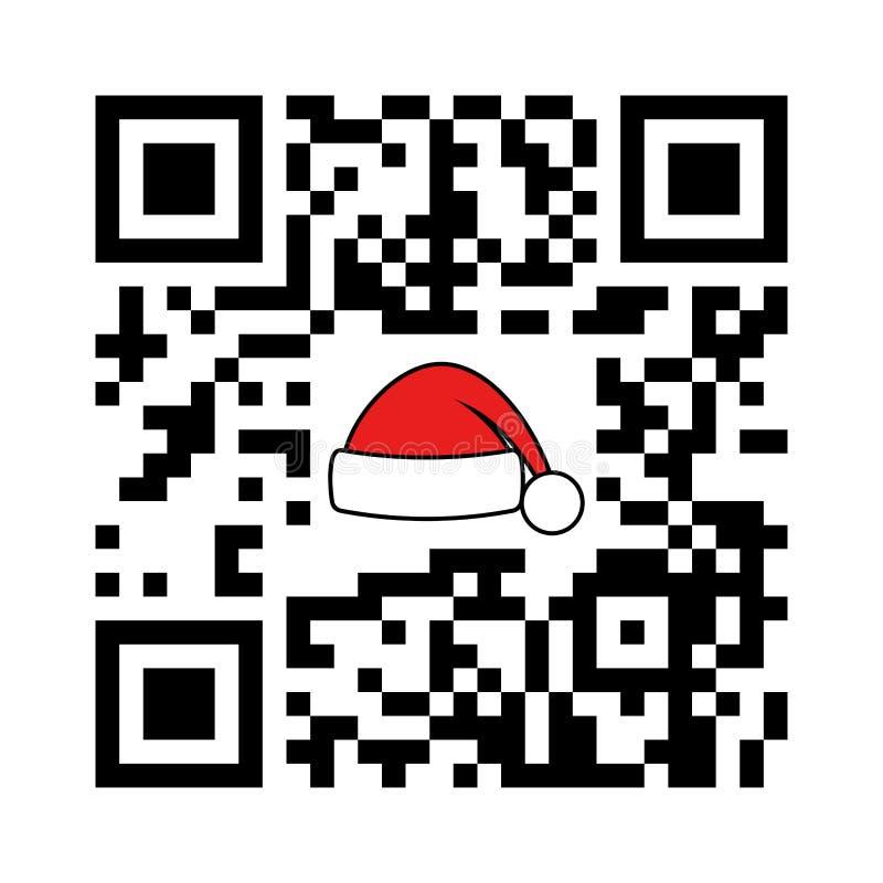 Αναγνώσιμες QR εύθυμες Χριστούγεννα και καλή χρονιά κώδικα Smartphone με το καπέλο Santa ελεύθερη απεικόνιση δικαιώματος