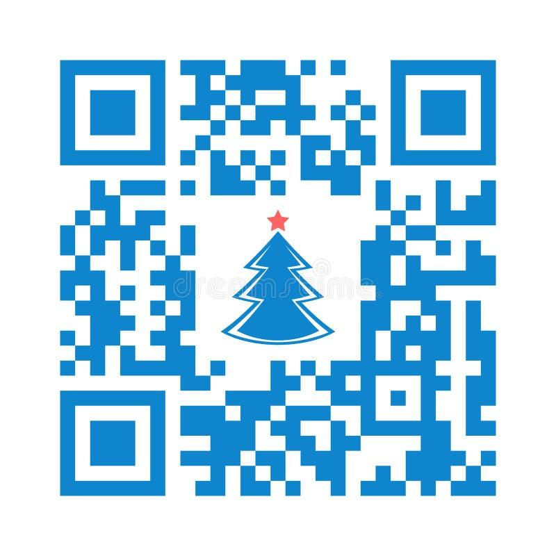 Αναγνώσιμη QR Χαρούμενα Χριστούγεννα κώδικα Smartphone με το εικονίδιο χριστουγεννιάτικων δέντρων ελεύθερη απεικόνιση δικαιώματος