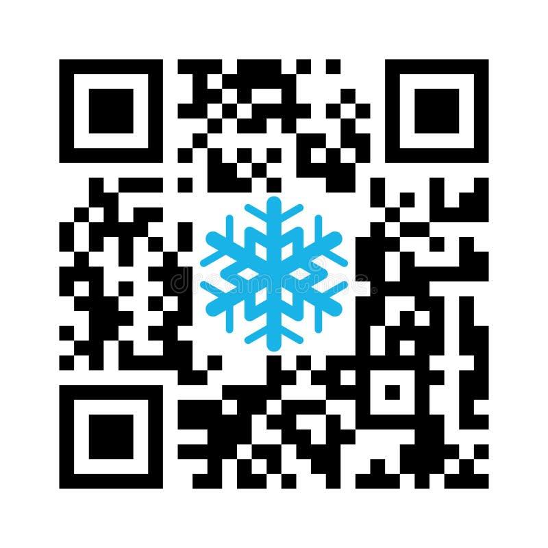 Αναγνώσιμη QR Χαρούμενα Χριστούγεννα κώδικα Smartphone με snowflake το εικονίδιο διανυσματική απεικόνιση