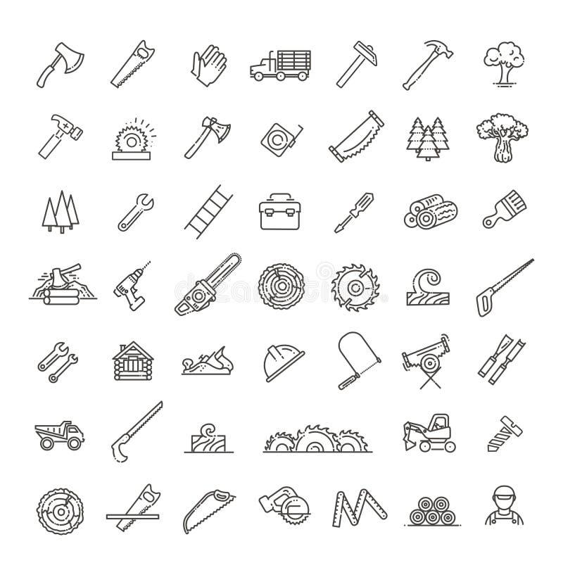 Αναγραφή, εικονίδια γραμμών πριονιστηρίων Όργανα για την εργασία με το ξύλο ελεύθερη απεικόνιση δικαιώματος
