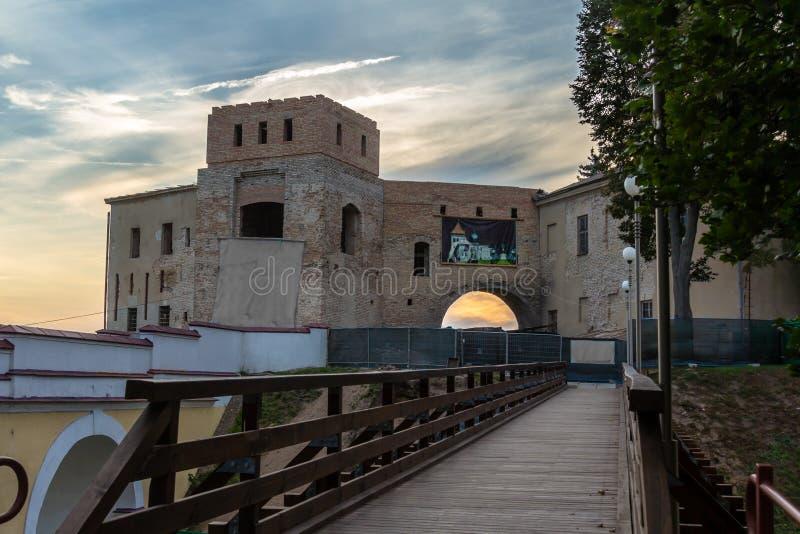 Αναδημιουργία του παλαιού κάστρου σε Γκρόντνο στοκ φωτογραφία