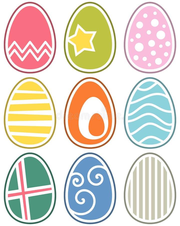 Αναδρομικά αυγά Πάσχας που τίθενται ελεύθερη απεικόνιση δικαιώματος