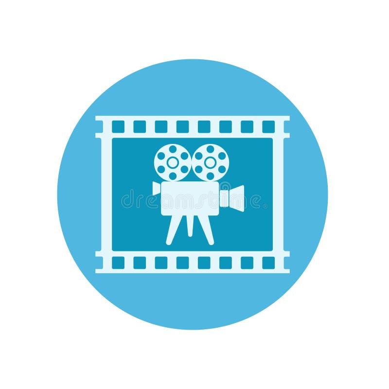 Αναδρομικά βιντεοκάμερα στην ταινία ταινιών στο μπλε κουμπί για το σχέδιο Ιστού, s απεικόνιση αποθεμάτων