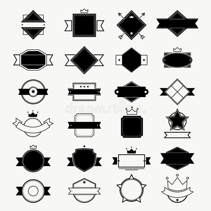 Αναδρομικά εκλεκτής ποιότητας διακριτικά που τίθενται για την ετικέτα, το πλαίσιο, το έμβλημα και το λογότυπο, διανυσματική απεικ ελεύθερη απεικόνιση δικαιώματος
