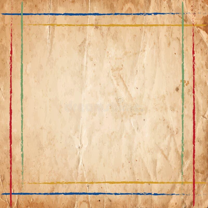 Αναδρομικά εκλεκτής ποιότητας ζωηρόχρωμα σύνορα γραμμών στο παλαιό υπόβαθρο εγγράφου στοκ εικόνα με δικαίωμα ελεύθερης χρήσης