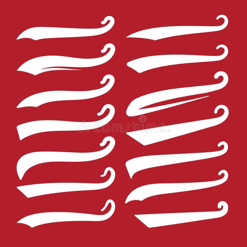 Αναδρομικά θροίσματα Ουρές μπέιζ-μπώλ swash, swooshes για την τυπογραφία και το αθλητικό λογότυπο Το θρόισμα κειμένων υπογραμμίζε διανυσματική απεικόνιση