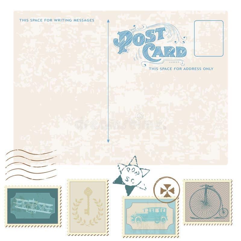Αναδρομικά κάρτα και γραμματόσημα ελεύθερη απεικόνιση δικαιώματος