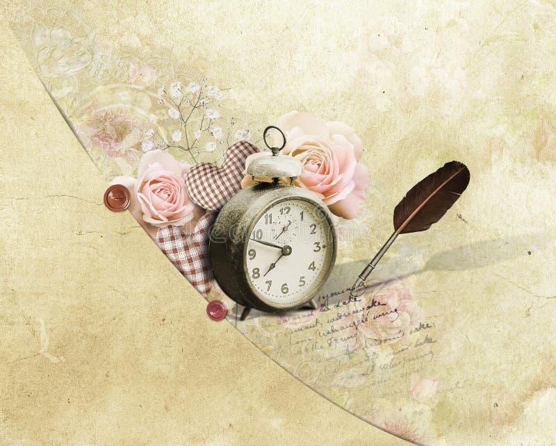 Αναδρομικά λουλούδια wintage και ρολόι, υπόβαθρο στοκ εικόνα με δικαίωμα ελεύθερης χρήσης