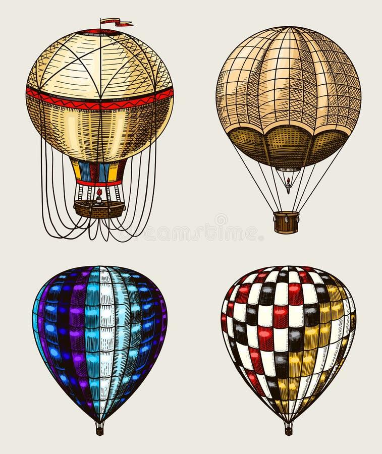 Αναδρομικά μπαλόνια ζεστού αέρα Διανυσματικά πετώντας αεροσκάφη με τα διακοσμητικά στοιχεία Μεταφορά προτύπων για το ρομαντικό λο απεικόνιση αποθεμάτων