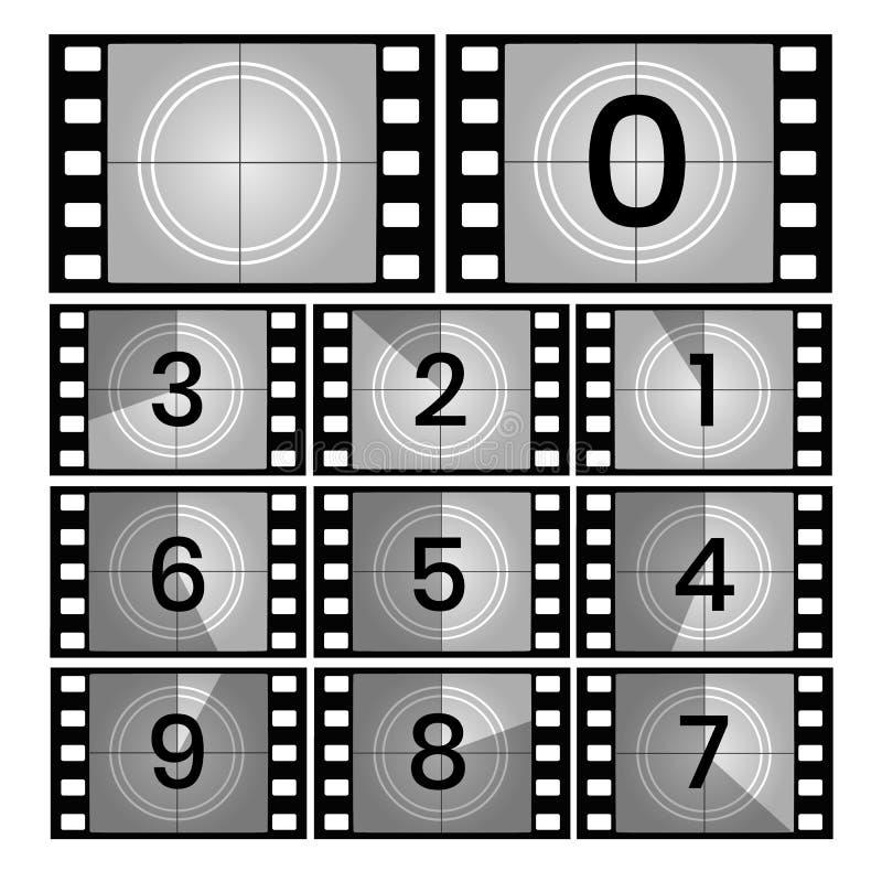 Αναδρομικά πλαίσια αντίστροφης μέτρησης ταινιών διανυσματική απεικόνιση