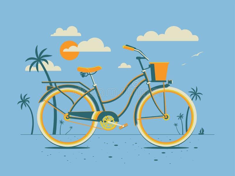 Αναδρομικά ποδήλατο/ταχύπλοο σκάφος στην παραλία βραδιού με τον ήλιο και σύννεφα ύφους στον ουρανό διανυσματική απεικόνιση