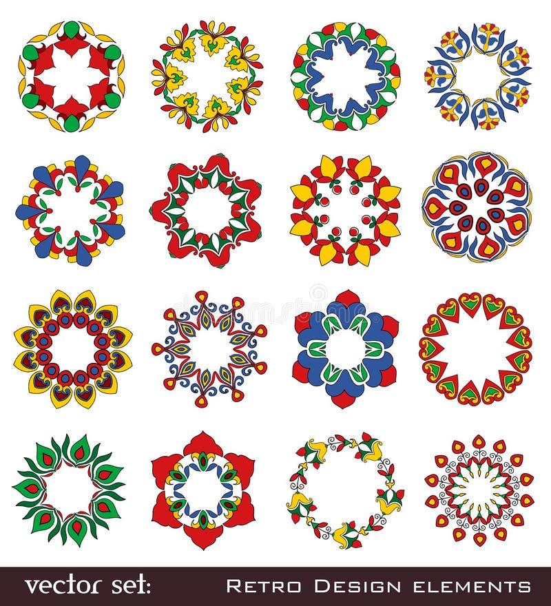 Αναδρομικά στοιχεία λουλουδιών για το σχέδιο στοκ εικόνες με δικαίωμα ελεύθερης χρήσης