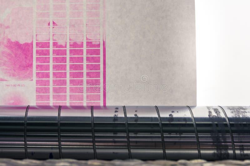 Αναδρομικά φωτισμένη βαθμολόγηση δοκιμής πρόβλεψης κυλίνδρων Ιστού αδιαβροχοποίησης Flexography στοκ φωτογραφία με δικαίωμα ελεύθερης χρήσης