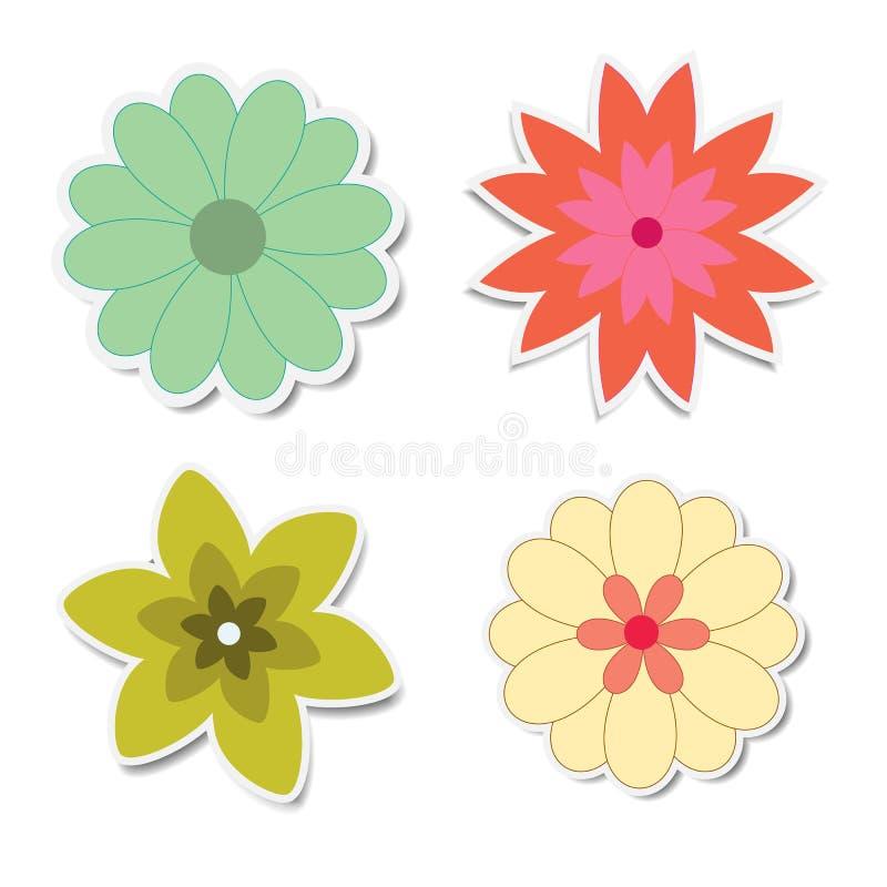 Αναδρομικές αυτοκόλλητες ετικέττες λουλουδιών με τις σκιές διανυσματική απεικόνιση