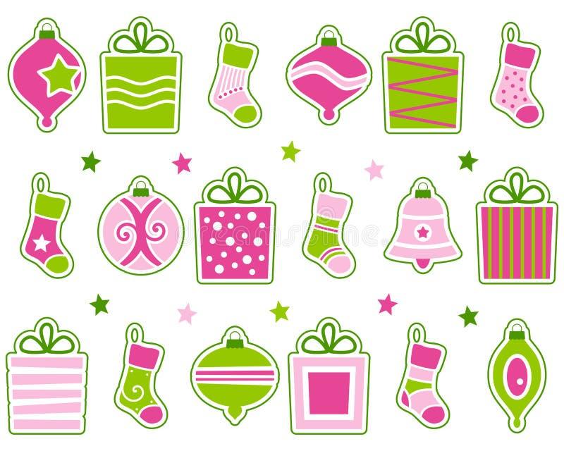 Αναδρομικές διακοσμήσεις Χριστουγέννων που τίθενται ελεύθερη απεικόνιση δικαιώματος
