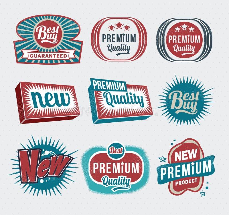 Αναδρομικές εκλεκτής ποιότητας ετικέτες ελεύθερη απεικόνιση δικαιώματος