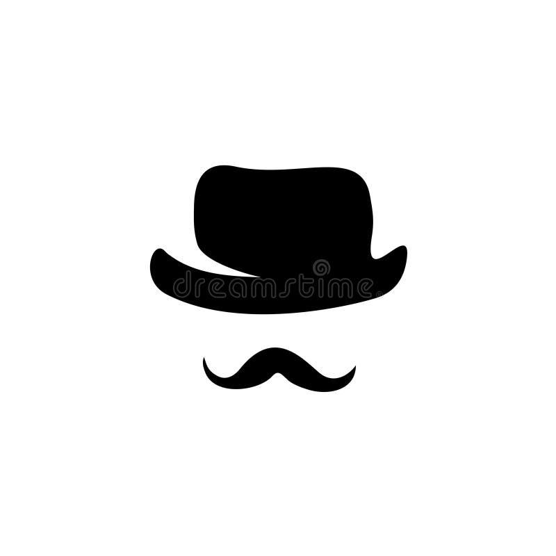 Αναδρομικές καπέλο και moustache σκιαγραφίες διανυσματική απεικόνιση