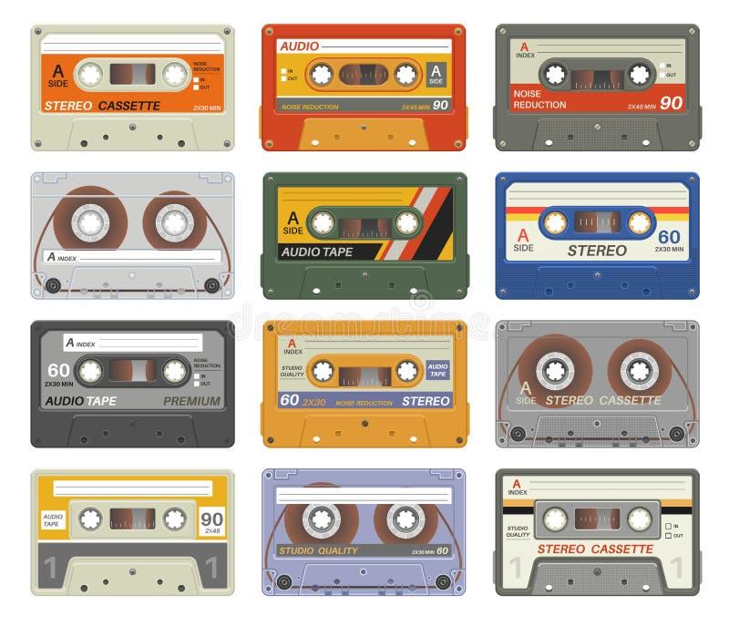 Αναδρομικές κασέτες Ζωηρόχρωμες πλαστικές ακουστικές κασετών εκλεκτής ποιότητας μέσων συσκευών μουσικής τεχνολογίας εικόνες αρχεί διανυσματική απεικόνιση
