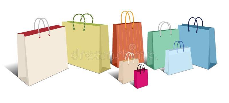 Αναδρομικές τσάντες αγορών, σύμβολα εικονιδίων τσαντών μεταφορέων ελεύθερη απεικόνιση δικαιώματος