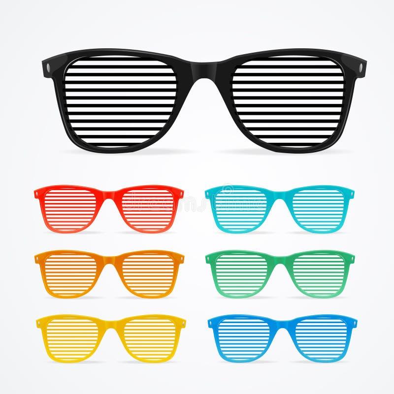 Αναδρομική έννοια συνόλου γυαλιών ηλίου ριγωτή ζωηρόχρωμη διάνυσμα διανυσματική απεικόνιση