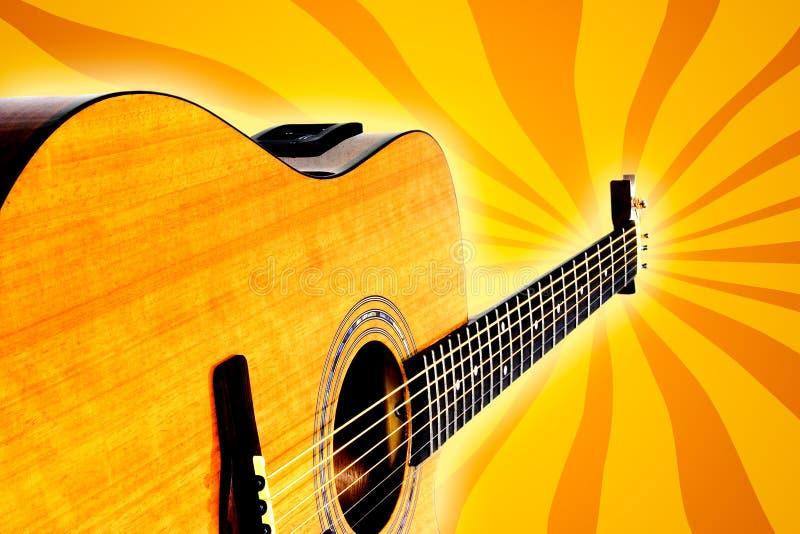 Αναδρομική ακουστική κιθάρα διανυσματική απεικόνιση