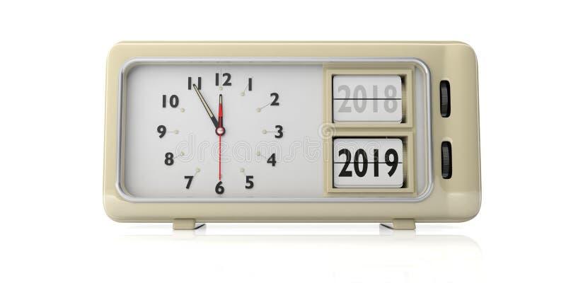 Αναδρομική αλλαγή έτους ξυπνητηριών από το 2018 ως το 2019, μεσάνυχτα, που απομονώνονται στο άσπρο υπόβαθρο τρισδιάστατη απεικόνι απεικόνιση αποθεμάτων