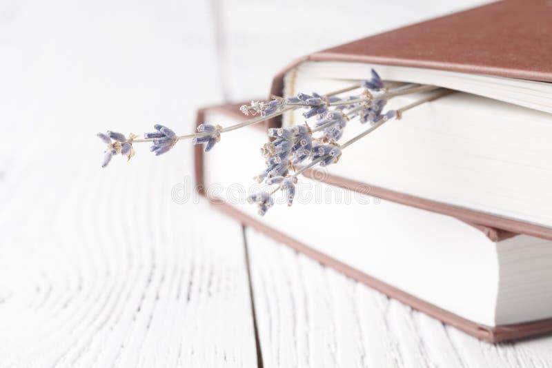 Αναδρομική ανθοδέσμη ξηρό lavender με τα βιβλία στοκ φωτογραφίες