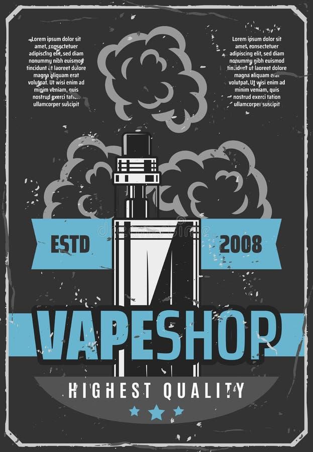 Αναδρομική αφίσα διαφημίσεων ε-τσιγάρων καταστημάτων Vape ελεύθερη απεικόνιση δικαιώματος