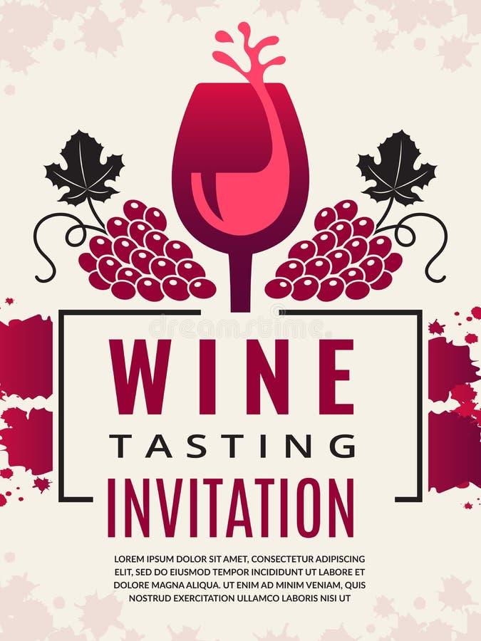 Αναδρομική αφίσα κρασιού Εικόνες του γυαλιού κρασιού και του τυποποιημένου μαύρου σταφυλιού απεικόνιση αποθεμάτων