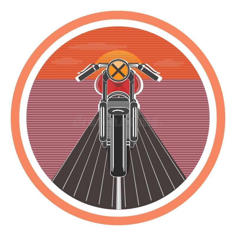 Αναδρομική αφίσα με την εκλεκτής ποιότητας μοτοσικλέτα επίσης corel σύρετε το διάνυσμα απεικόνισης διανυσματική απεικόνιση