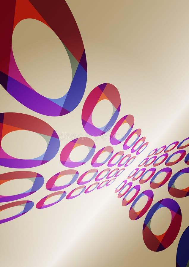 Αναδρομική αφίσα με τους δίσκους χρώματος δρύινο διάνυσμα προτύπων κορδελλών φύλλων δαφνών συνόρων ελεύθερη απεικόνιση δικαιώματος