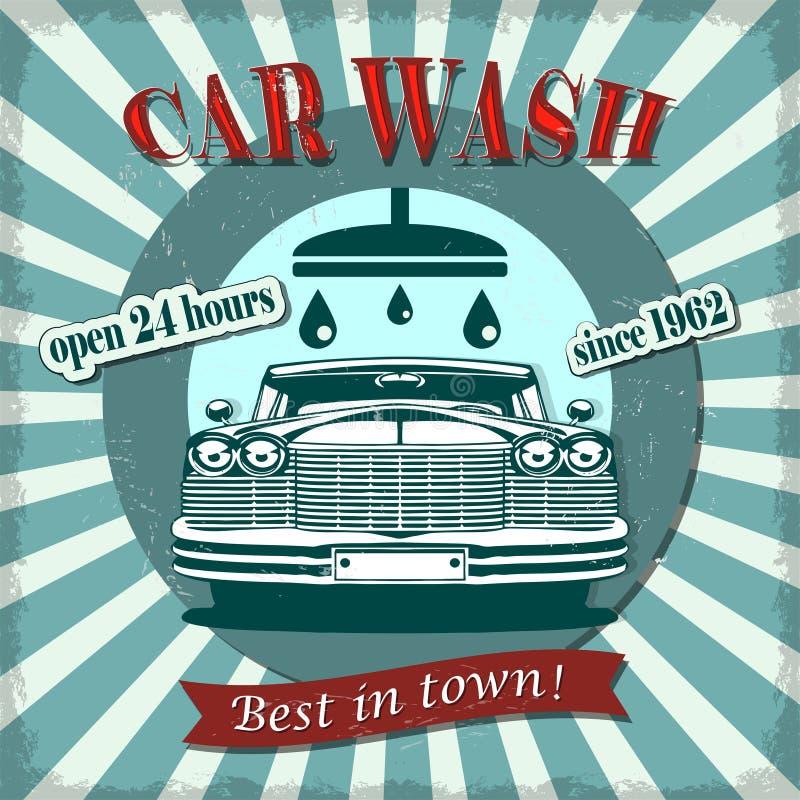 Αναδρομική αφίσα πλυσίματος αυτοκινήτων απεικόνιση αποθεμάτων