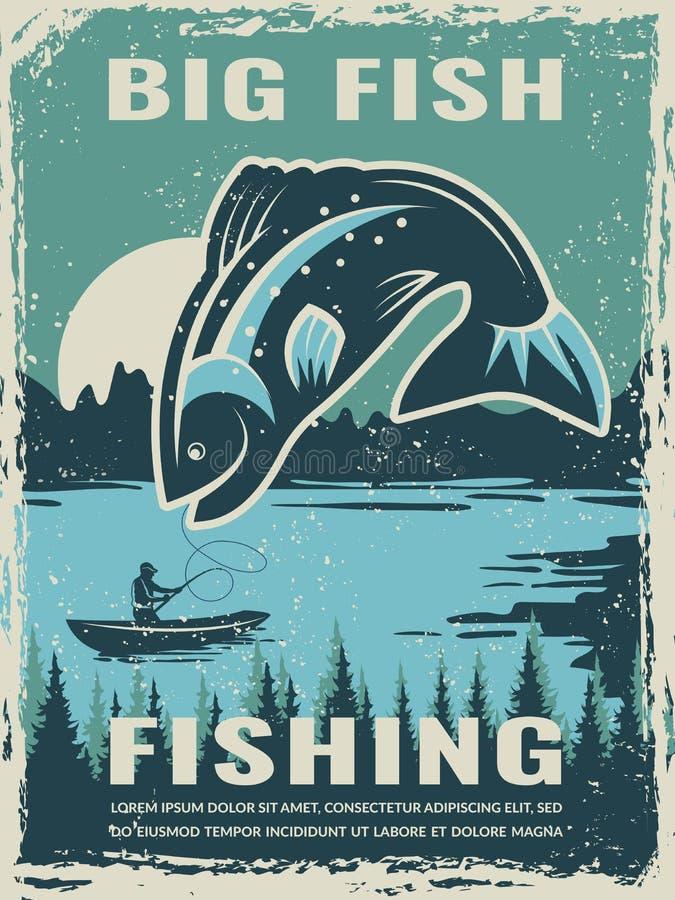 Αναδρομική αφίσα της λέσχης ψαράδων με την απεικόνιση των μεγάλων ψαριών ελεύθερη απεικόνιση δικαιώματος