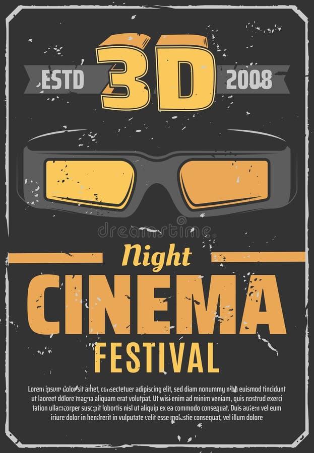 Αναδρομική αφίσα φεστιβάλ νύχτας κινηματογράφων κινηματογράφων τρισδιάστατη διανυσματική απεικόνιση