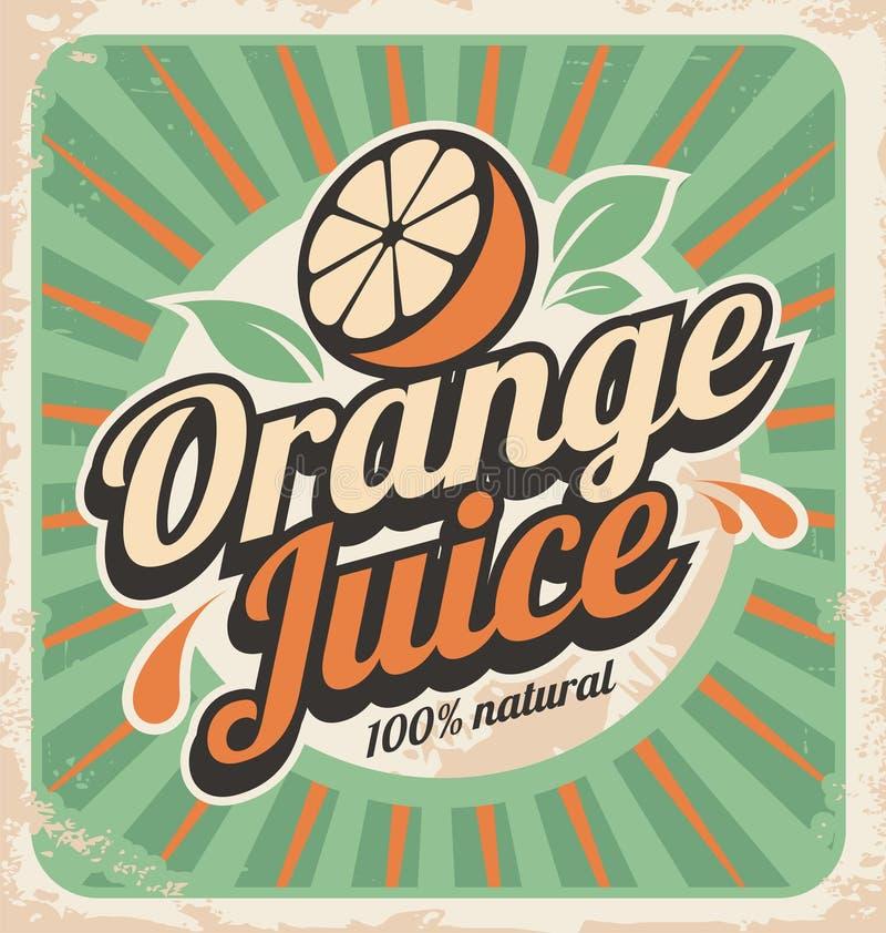 Αναδρομική αφίσα χυμού από πορτοκάλι διανυσματική απεικόνιση