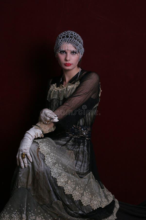αναδρομική γυναίκα πτερ&upsil στοκ φωτογραφία με δικαίωμα ελεύθερης χρήσης
